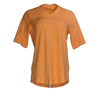 Isaac Mizrahi Live! Women's Top V-Neck Elbow Sleeve Tuniek Oranje A289635
