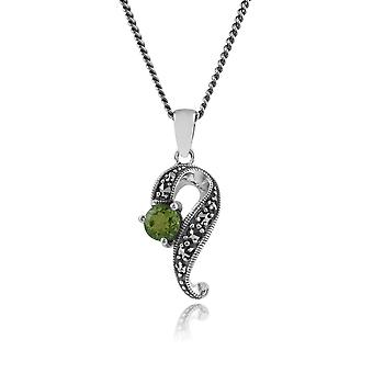 Art Nouveau Style Round Peridot & Marcasite Swirl Pendant Necklace in 925 Sterling Silver 214N449003925