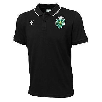 2020-2021 Sporting Lisbon Camiseta Polo de Algodón (Negro)