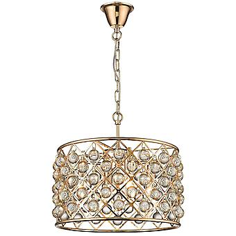 4 Light Small Ceiling Pendant Gold, Clear with Crystals, E14