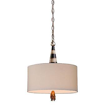 2 Light Ceiling Pendant Black, Cream, Gold Leaf, E27