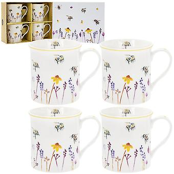 Set of 4 Busy Bees Wild Flowers Mugs