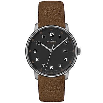 Junghans FORM En Titan automatisk svart ekstern brun lærrem menn's Watch 027/2002.00