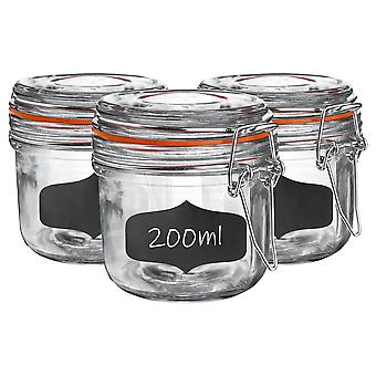 Glass Storage Jars with Airtight Clip Lid and Chalkboard Stickers - 200ml Set - Orange Seal - Pack of 6