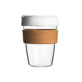 Reusable Travel Mug - Glass Commuter Cup for Tea, Coffee with Silicone Lid, Cork Sleeve - Eco-Friendly - 350ml - White