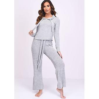 Soft Hooded Culotte Loungewear Co ord Set Grey
