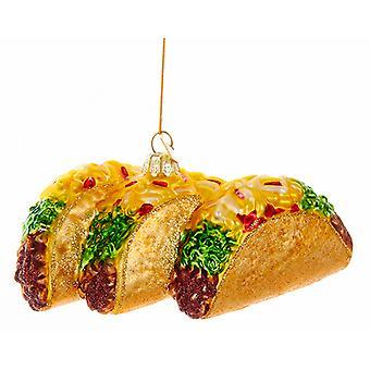 Kurt Adler Noble Gems Beef Tacos Christmas Holiday Ornament Glass
