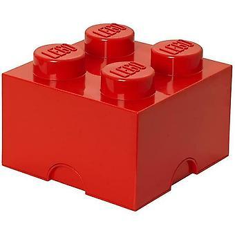 LEGO Storage Brick with 4 Knobs, original Genuine - Red - 250 x 250 x 180 mm