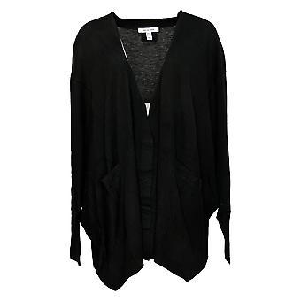 Peace Love World Women's Sweater 2XL/3XL Cardigan W/Rib Detail Black A301623