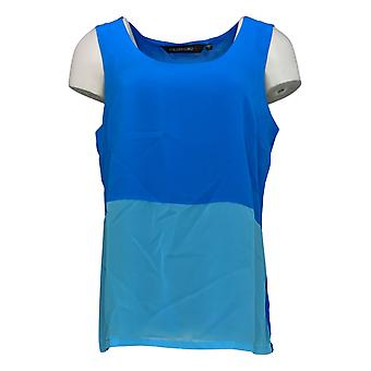 Colleen Lopez Women's Top Mixed Media Sleeveless Tank Blue 698-386