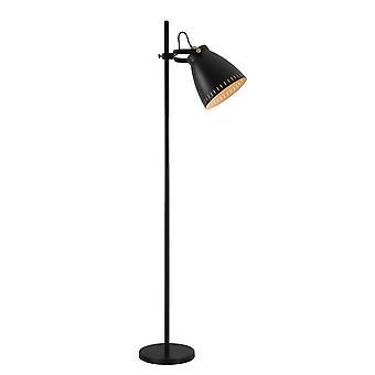 Perry verstellbare Stehleuchte, 1 X E27, Matt schwarz/antique Messing/Khaki