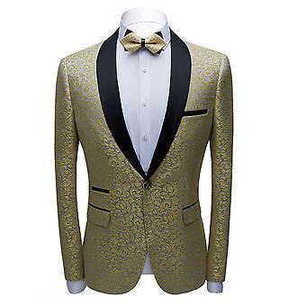 YANGFAN Men's Printed Suit Jacket Single Row One Button Slim Coat