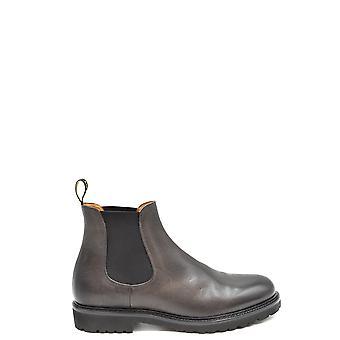 Doucal's Ezbc089049 Men's Grey Leather Ankle Boots