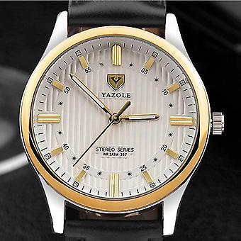 YAZOLE 357 Fashion Men Quartz Watch Retro Leather Strap Wrist Watch