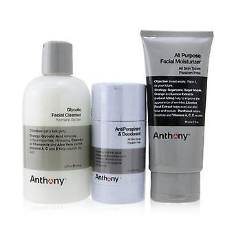 Anthony Basic Kit mit AntiPerspirant & Deodorant: Reiniger 237ml + Feuchtigkeitsspender 90ml + Deodorant 70g 3pcs