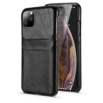 For iPhone 11 Pro Max Calf Texture PU + PC Protective Case with Card Slots(Black)