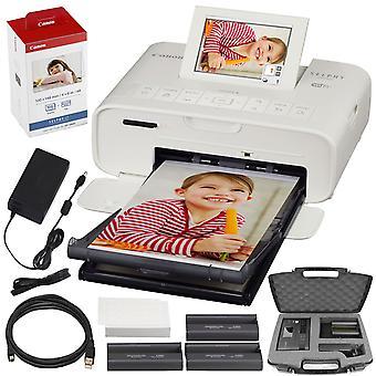 Canon selphy cp1300 stampante fotografica compatta (bianca) con wifi e pacchetto accessorio con inchiostro canon color e set di carta + custodia + altro