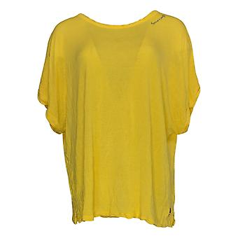 Peace Love World Women's Top Short Sleeve Round Neck Yellow A379899
