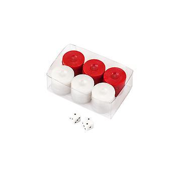 Waarde Backgammon stenen in rood / wit 26mm