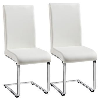 Set of 2 Stylish Off White Durable Faux Leather Dining Chairs