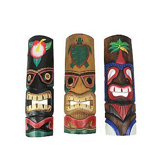 Uppsättning av 3 20in tropiska Tiki Wall Masker