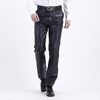 Summer Men's Business Slim Fit Stretchy Faux Leather Pants