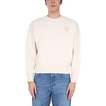 Ami E21hj028747150 Men's White Cotton Sweatshirt