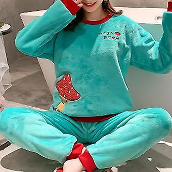 Sonbahar Kış Sıcak Flanel Kadın Pijama Setleri