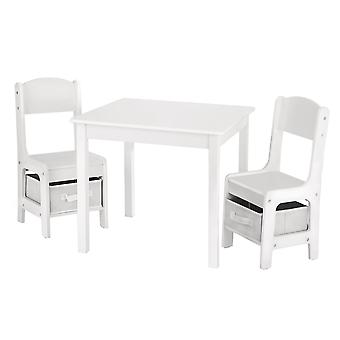 Barnbord med stolar av trä - 1 bord och 2 stolar för barn