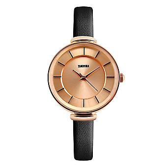 SKMEI 1184 Simple Design Dames Polshorloge Echt Lederen Band Quartz Horloges