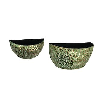 Set of 2 Verdigris Green Aged Bronze Look Metal Wall Mounted Planters