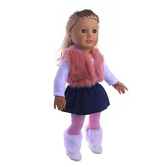 3pcs/set T-shirt/hat+knitted Sweater+skirt Suit Doll Cloth