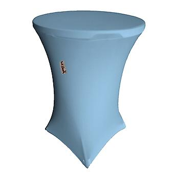 La Linen Round Spandex Cover For Bar High Cocktail Table, 36-Inch Round 42-Inch High, Blue Light