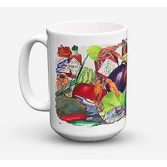 Caroline's Schätze 8540CM15 Louisiana Gewürze Microwavable Keramik Kaffeebecher, 15 Unzen, Multicolor