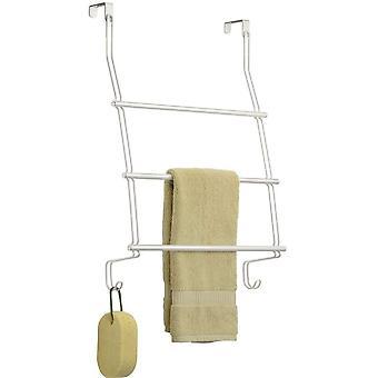 mDesign Over The Door Towel Rail with Hooks - Modern Bathroom Towel Rail with 2 Hooks for Accessorie