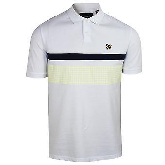 Lyle & scott men's white gingham yoke stripe polo shirt