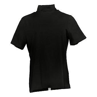 Isaac Mizrahi Live! Vrouwen>Top Mock Neck Korte Mouw Breien Zwart A384888