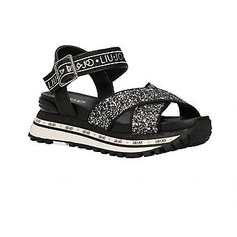 Black Leather Liu-jo Maxi Wonder Sandal Shoes/ Women's Glitter Ds21lj20 Ba1081