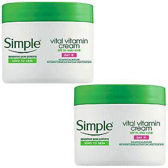 2x of 50ml Simple Kind To Skin Vital Vitamin Day Cream With SPF Formula