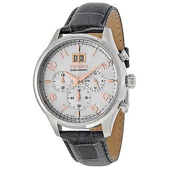 Seiko Chronograph Silver Dial Gray Leather Men's Watch SPC087
