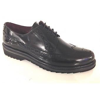 Shoes Woman Gas N. Bearded Inglesina Derby Abrasive Black Leather D15nb05