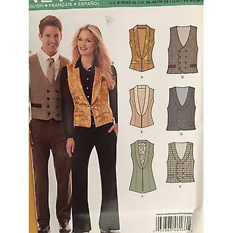 New Look Sewing Pattern 6166 Misses Unisex Mens Vest Size 8-18 XS-XL Uncut
