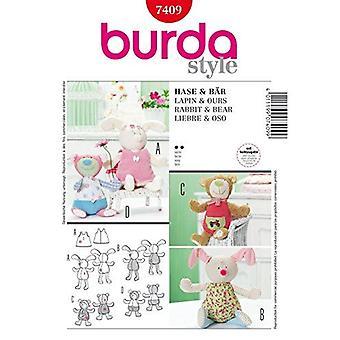 "Burda Sewing Pattern 7409 9.5"" & 11.5"" Rabbit Bears Bunnies Stuffed Dolls One"