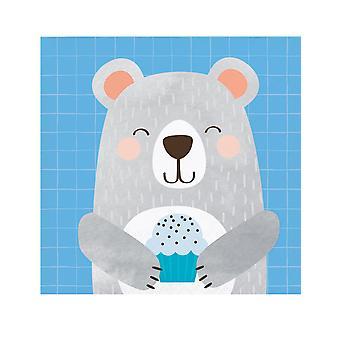 16 Petites serviettes en papier Petit Ours Gris 25 x 25 cm