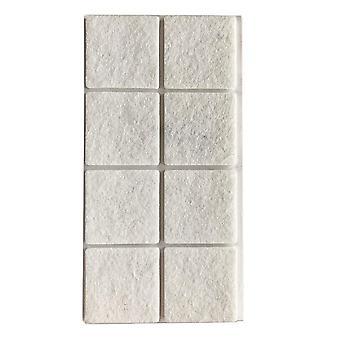 Witte viltschijf vierkant 5 cm (8 stuks) (1 stuk)
