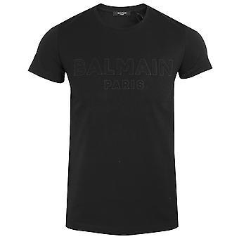Balmain men's black raised logo t-shirt