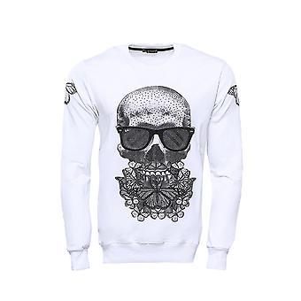 Skull printed white sweatshirt