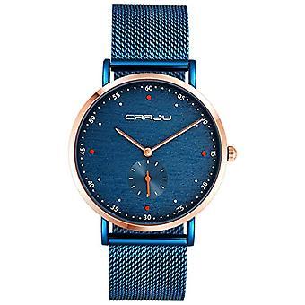 SUPBRO Ultra thin men's watches with minimalist black quartz with blue mesh strap
