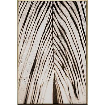 JUNIQE Print - Palm Shadow - Zwart -wit Poster in Bruin & Crème Wit