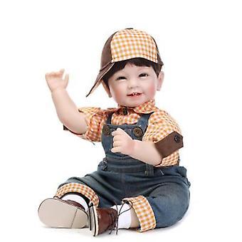 """Genfødt Baby Dolls Docka Mjukt Silikon 22 """"/ 55cm Naturtro nyfødte Dukke dreng gave"""